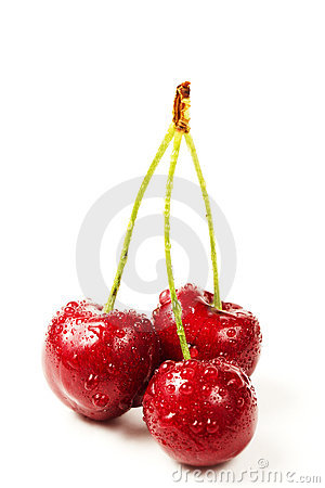 Three wet cherries