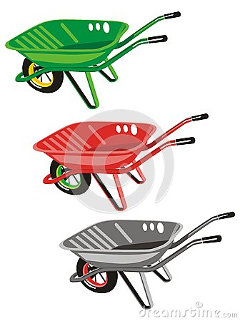Three wheelbarrows