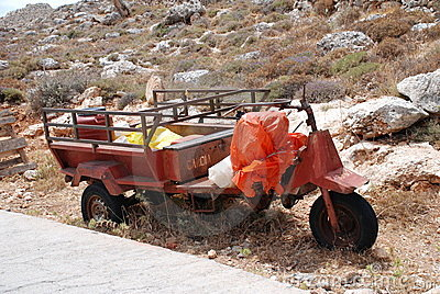 Three wheeled farm vehicle, Halki Editorial Photo