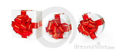 Three white pasteboard square gift boxes