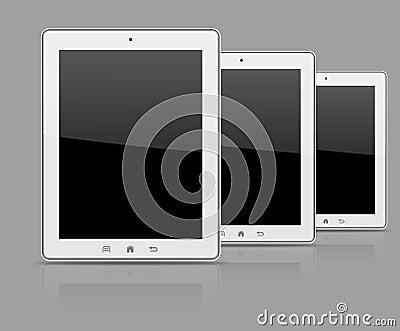 Three white tablet pc