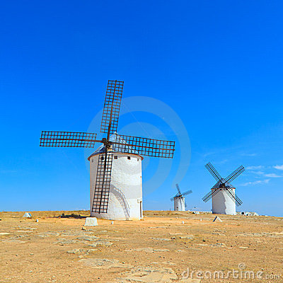 Three windmills. Castile La Mancha, Spain.