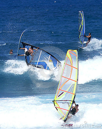 Free Three Windsurfers In The Waves Stock Images - 178534