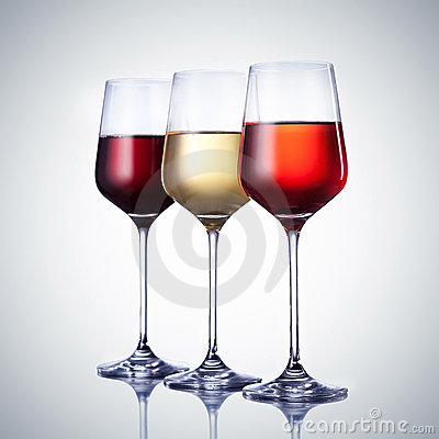 Three wine glass with clipping path