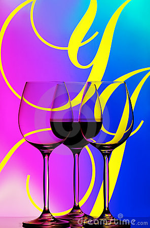 Three wine glasses abstract