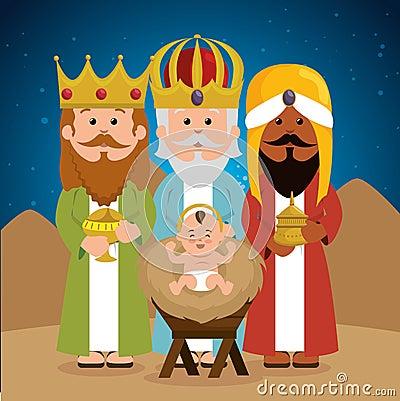 Three wise kings baby jesus manger Vector Illustration