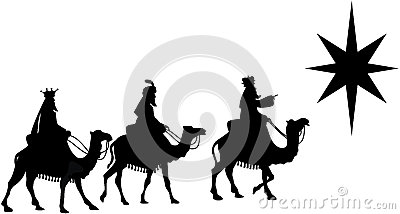 Three Wise Men on Camel Back Silhouette