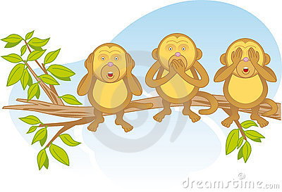 Three wise monkeys on a branch