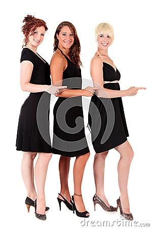 Three women black dresses