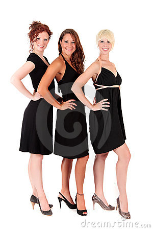 Three women black dresses