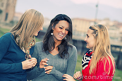 Three Women Chatting Outdoor