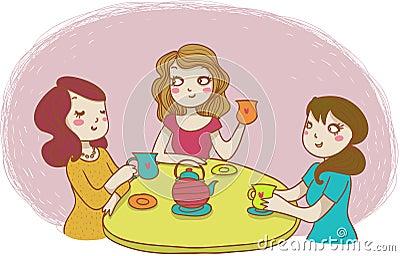 Three women drinking tea