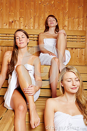 Three women enjoying the sauna
