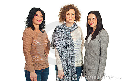 Three women in a line