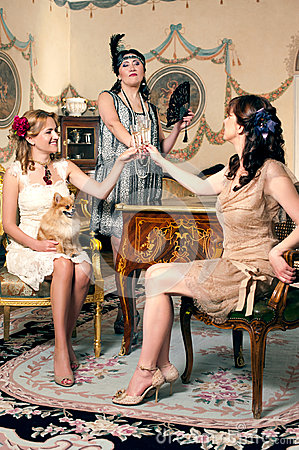 Three women partying retro style