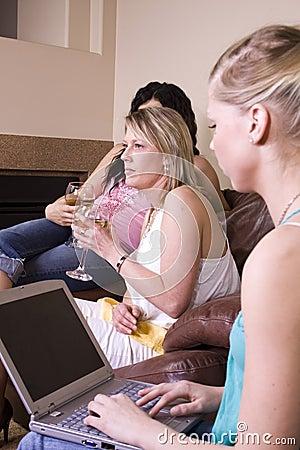 Three Women Socializing at Home