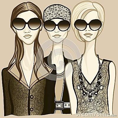 Three women with sunglasses