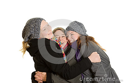 Three women in tight embrace