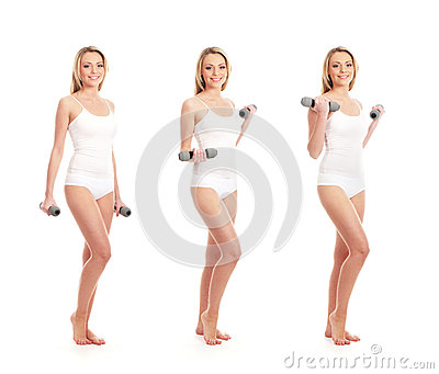 Three women in white clothes holding dumbbells