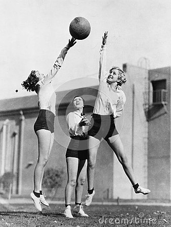 Free Three Women With Basketball In The Air Stock Photography - 52004372