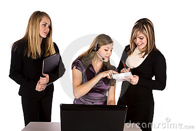 Three women working