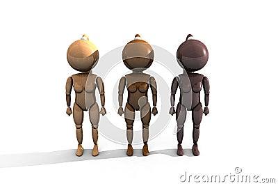 Three wooden feminine characters - 3DThree wooden