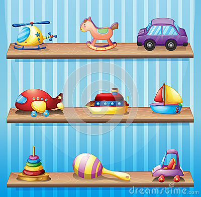 Free Three Wooden Shelves With Toys Royalty Free Stock Images - 31911489