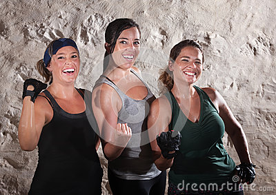 Three Workout Ladies Flex Their Biceps