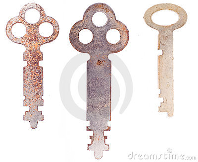 Three worn skeleton keys