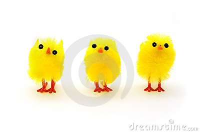 Three yellow easter chicks in a row