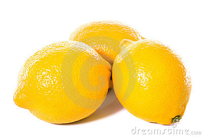 Three yellow lemons