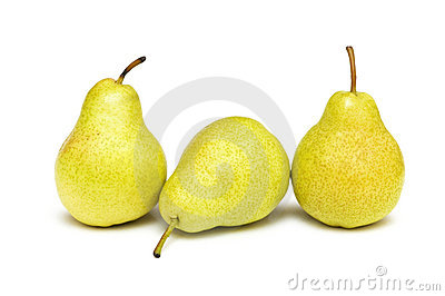 Three yellow pears isolated