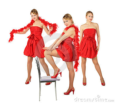 Three young blonde girls in red dress, collage