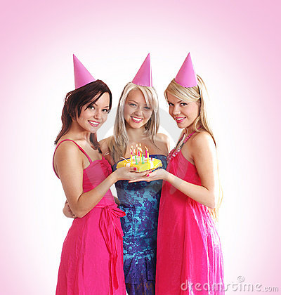 Free Three Young Girls Are Celebrate A Birthday Party Royalty Free Stock Image - 15720776
