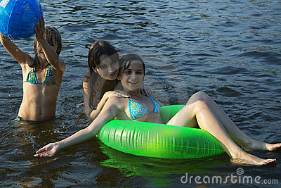 Three young girls on the beach
