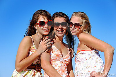 Three young girls in the sun