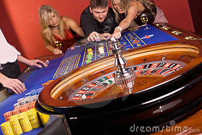Three young people in casino