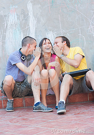 Three young people outdoors