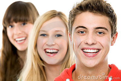 Three young people in a row