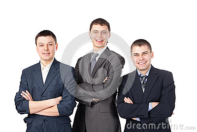 Three young smiling business men
