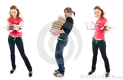 The three young student with a books isolated