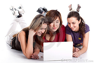 Three young student with laptop