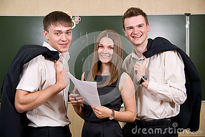 Three young succeeding the businessman