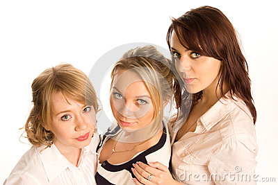 Three young woman in a row