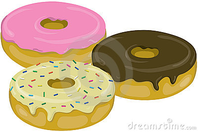 Three yummy donuts