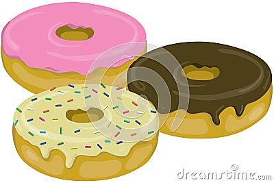 Three yummy donuts