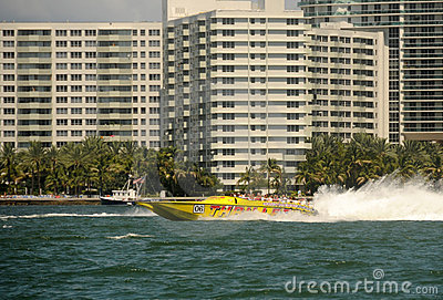 Thrill boat ride in Miami Editorial Photo