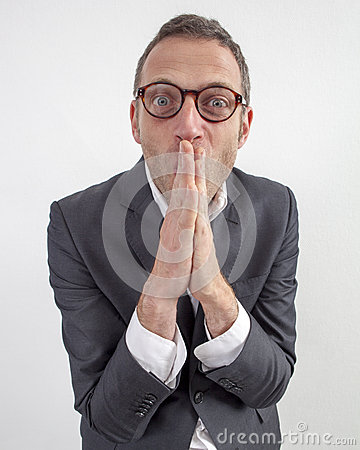 Free Thrilled Manager Hiding His Smile With Hands Flat For Humor Royalty Free Stock Photo - 63202665