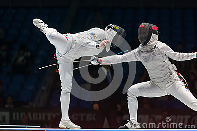 Thrilling battle on championship of world in fencing Editorial Photography