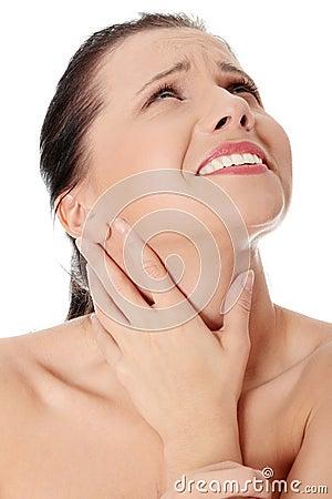 Throat pain concept.
